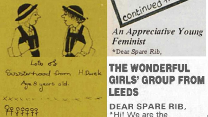 "Excerpts from Spare Rib magazine with a drawing of two schoolgirls and a message saying ""Lots of Sisterhood from H Dwek age 8 years old""."
