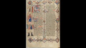 A lavishly decorated page for Easter from the Sherborne Missal, featuring extensive marginal decoration and illustrations of Biblical narratives.