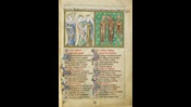 Page from the De Lisle Psalter, containing text, decorated initials and illustrations of three richly dressed aristocratic figures meeting three corpses