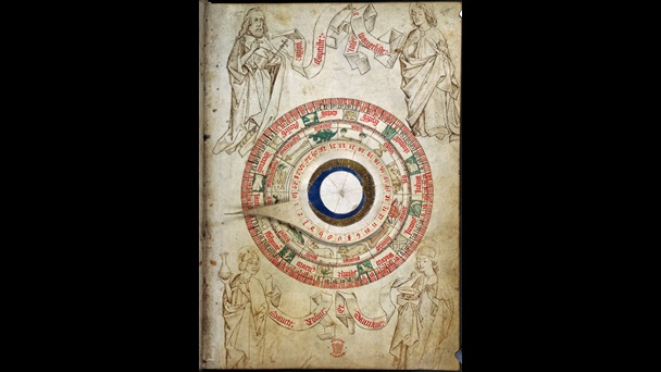 Page from a medical manuscript containing a circular zodiac chart with moving parts and surrounded by illustrations of religious saints