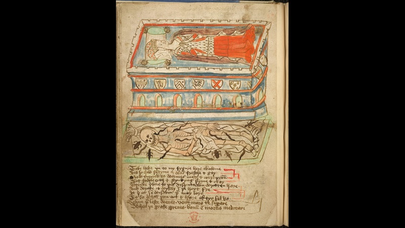 Page from a 15th century manuscript with text and illustration of a cadaver, which contains a colourful effigy of a richly dressed woman, juxtaposed with her decomposing corpse below, crawling with worms and toads