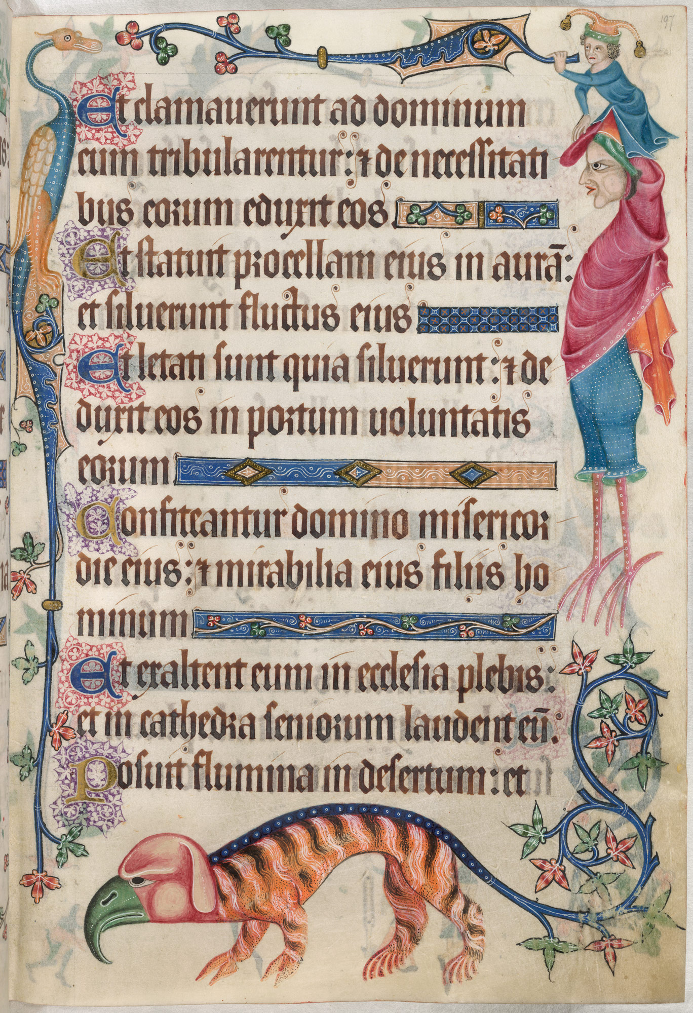 Illuminated monsters in the margins of the Luttrell Psalter