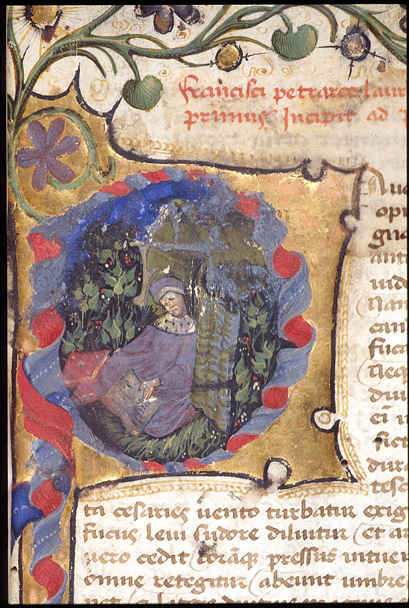 Initial decorated with a portrait of Petrarch