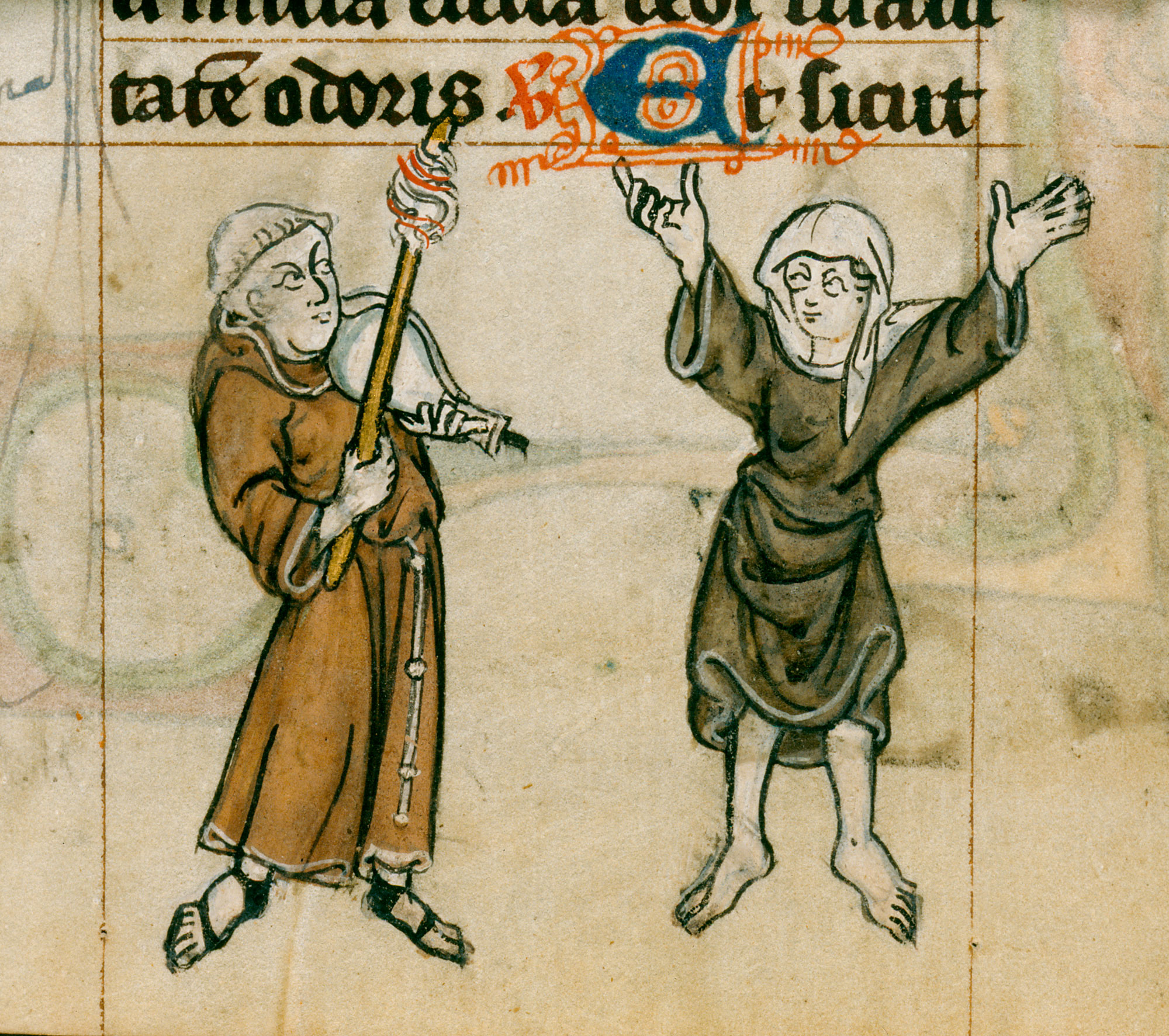 Marginal image of a friar with a musical instrument and a nun dancing
