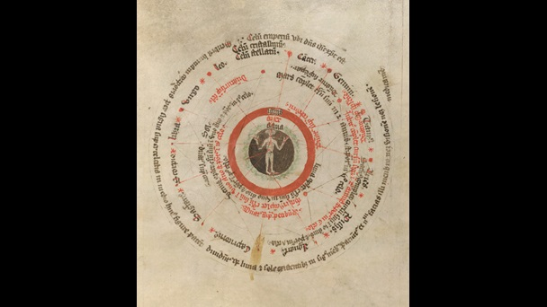 Page from a medical manuscript containing a circular diagram, now known as 'Microcosmic Man' or 'Zodiac man', with a figure in the centre surrounded by text
