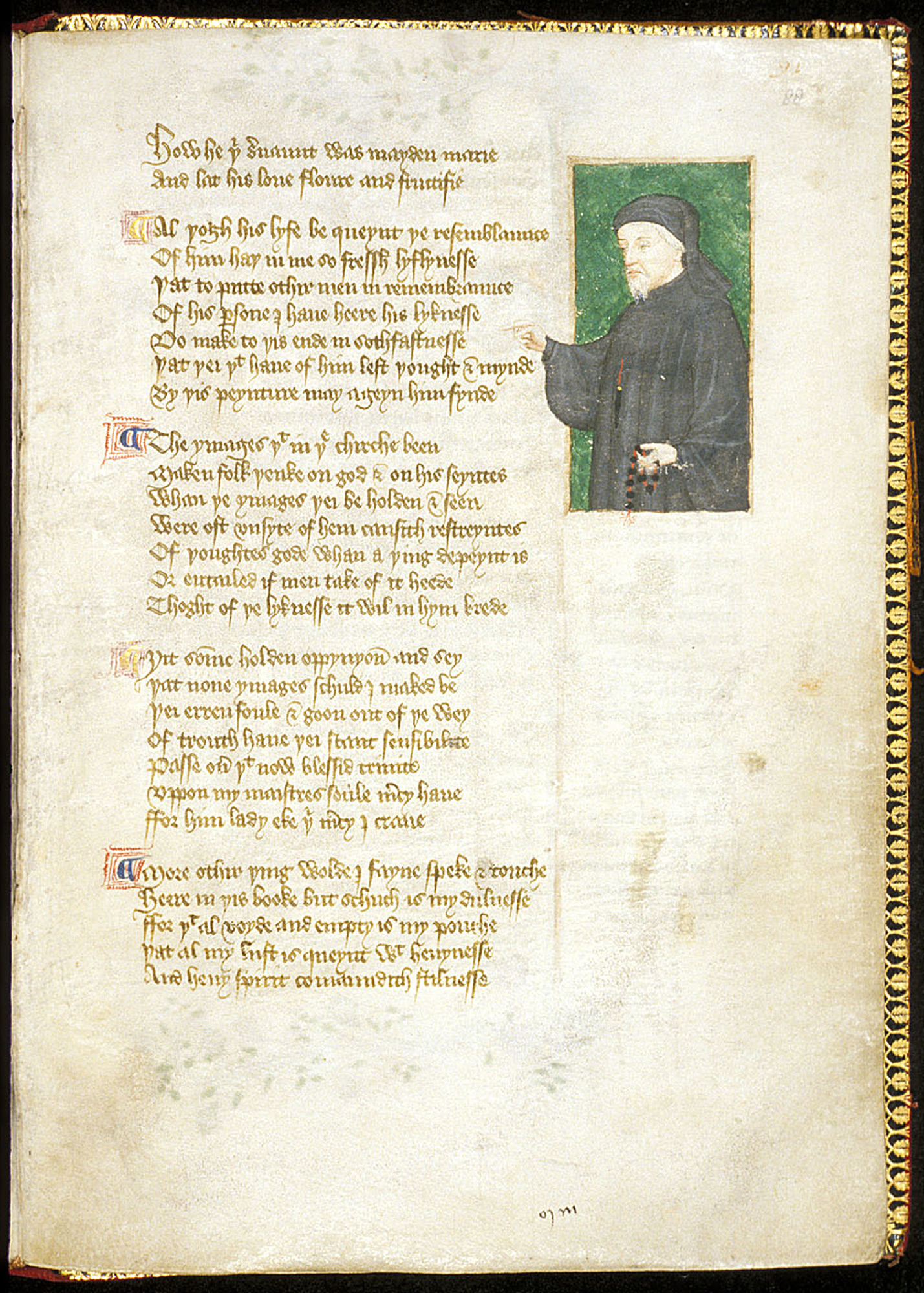 Miniature of Chaucer, from Thomas Hoccleve's The Regiment of Princes