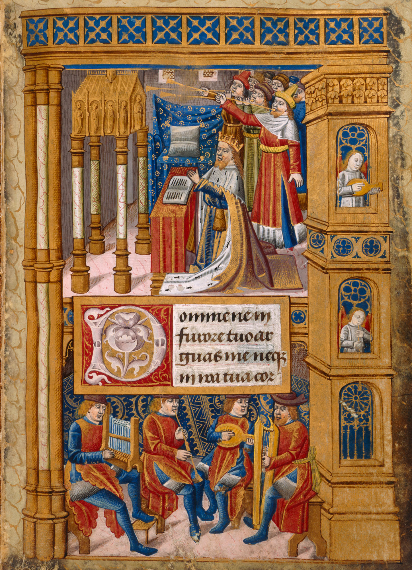 Miniature of King David in prayer, with music making angels and men