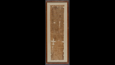 A 1st-century papyrus, preserving the complete text of an apprenticeship agreement between a father, Tryphon, and a weaver called Ptolomaeus.