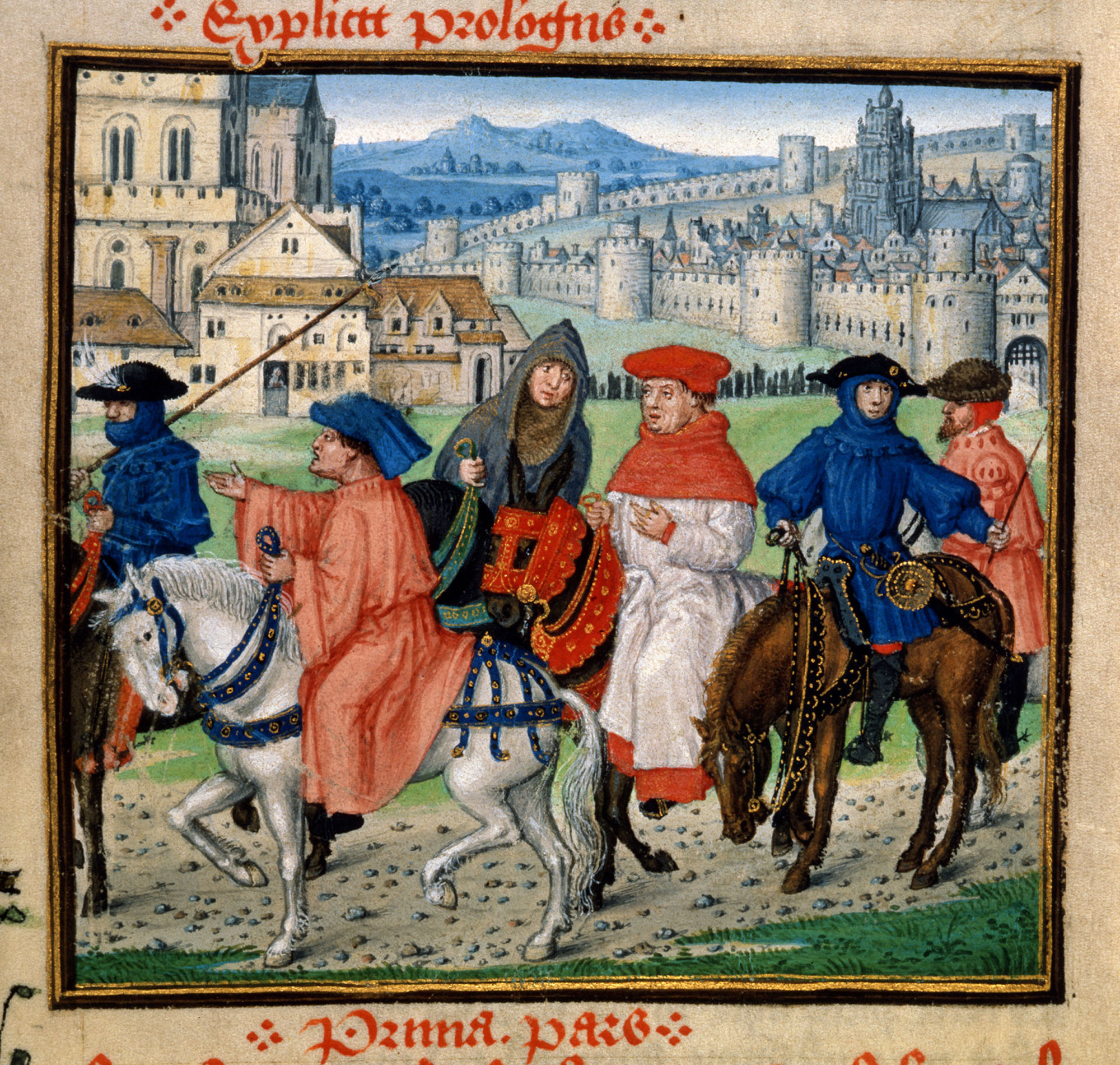 Pilgrims leaving Canterbury, taken from Lydgate's Siege of Thebes