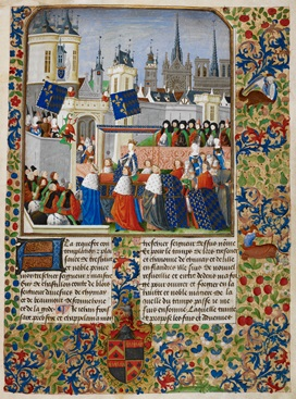 Page from a manuscript volume of Jean Froissart's Chronicles, containing text, floral decorated borders, and an illustration of Queen Isabella carried in procession through the streets and surrounded by many figures