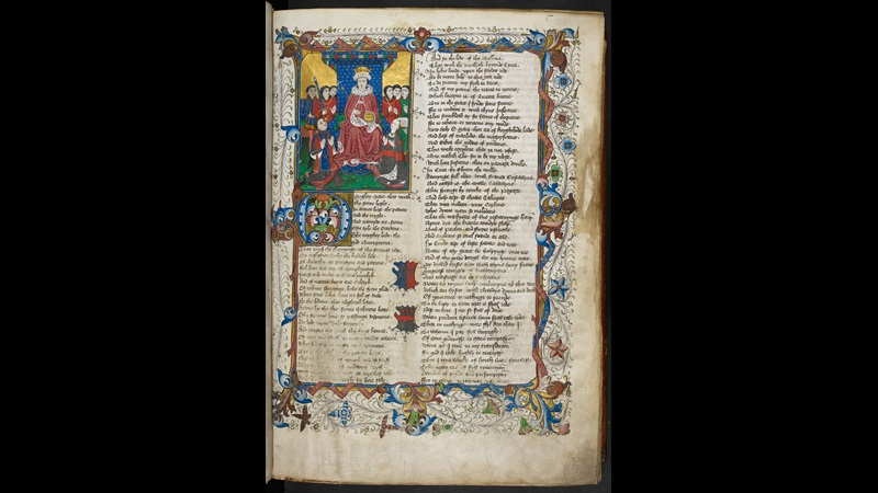 A page from a medieval manuscript, with an illustration of an enthroned king, with a man and woman kneeling before him