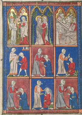 Illustrations from a medical manuscript depicting a doctor performing surgery on a man's skull, below representations of the Annunciation, the Visitation between the Virgin Mary and Elizabeth, mother of John the Baptist, and the Nativity