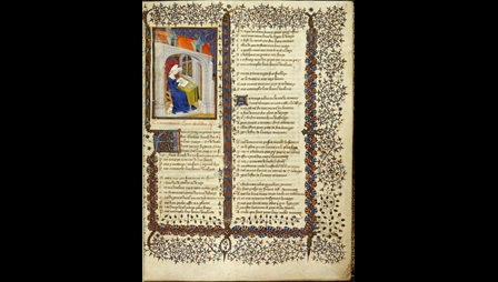 Illustration of Christine de Pizan writing at a desk, alongside text and decorated borders, from the Book of the Queen manuscript