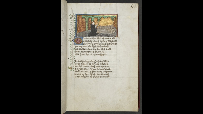 A page from a medieval manuscript, showing a portrait of John Lydgate kneeling before a shrine
