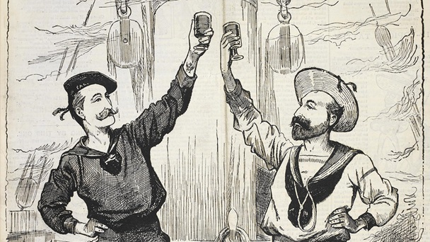 Illustration of sailors dancing and drinking on the deck of a ship