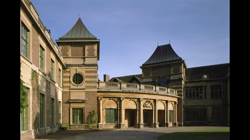 Main entrance, Eltham Palace, London. This view shows the curved colonnade and staircase pavilions at the main entrance of the new house designed by Seely and Paget.