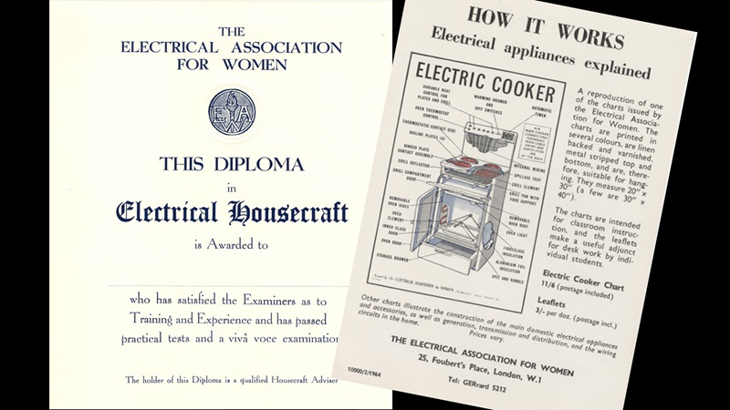 Overlaid images of a leaflet about how to use an electrical cooker, alongside a certificate for a 'diploma in electrical housecraft'