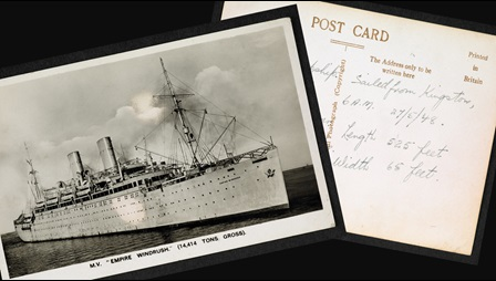 Collaged images of Winston Levy's postcard from the Empire Windrush. One side is a photograph of the ship, the other is his notes on his journey