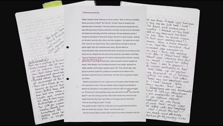Collage of Andrea Levy's manuscripts