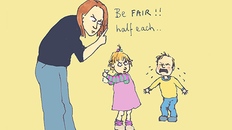 cartoon illustration of a woman telling a small girl and small boy to 'be fair, half each'