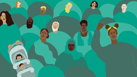 Banner illustrated by Erin Aniker. Illustration of a group of people gathering.