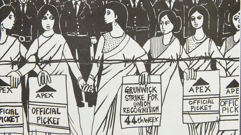 Cropped image from illustrated poster in support of the Grunwick Dispute 1977. It shows a line of women holding placards demanding union access