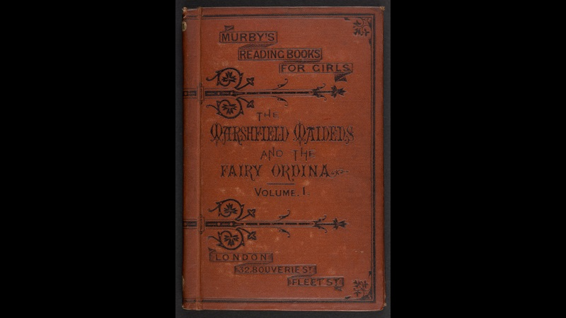 Leather bound front cover for volume one of Murby's Reading Books for Girls 'The Marshfield Maidens'