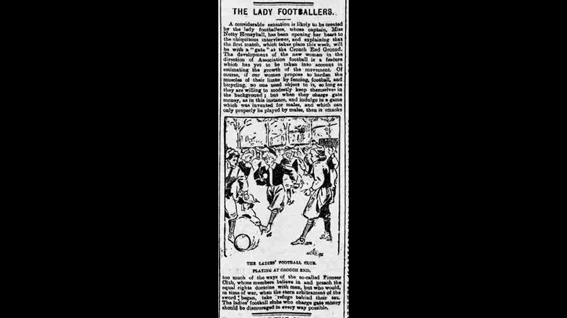 Clipping for an 1895 edition of The Cardiff Times. The article covers a game of football played by a group of women, titled 'The Lady Footballers'. It is accompanied by an illustration of the match.
