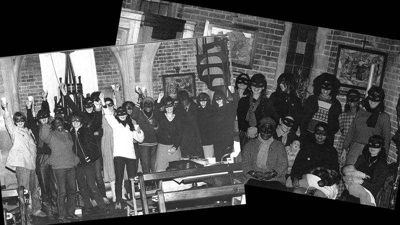 Collage of photographs taken by the ECP. Groups of women stand together wearing masks inside a church building, some are holding babies whilst others raise drinks above their heads.