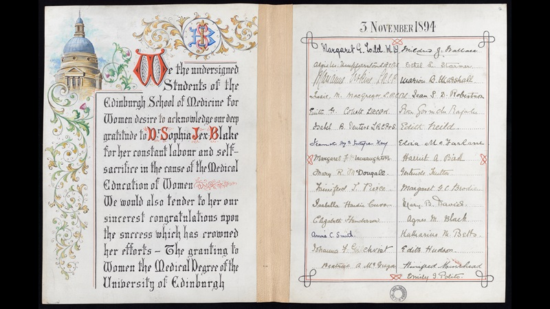 Certificate presented to Sophia Jex Blake for her 'constant labour and self-sacrifice in the cause of the medical education of women', 1894.