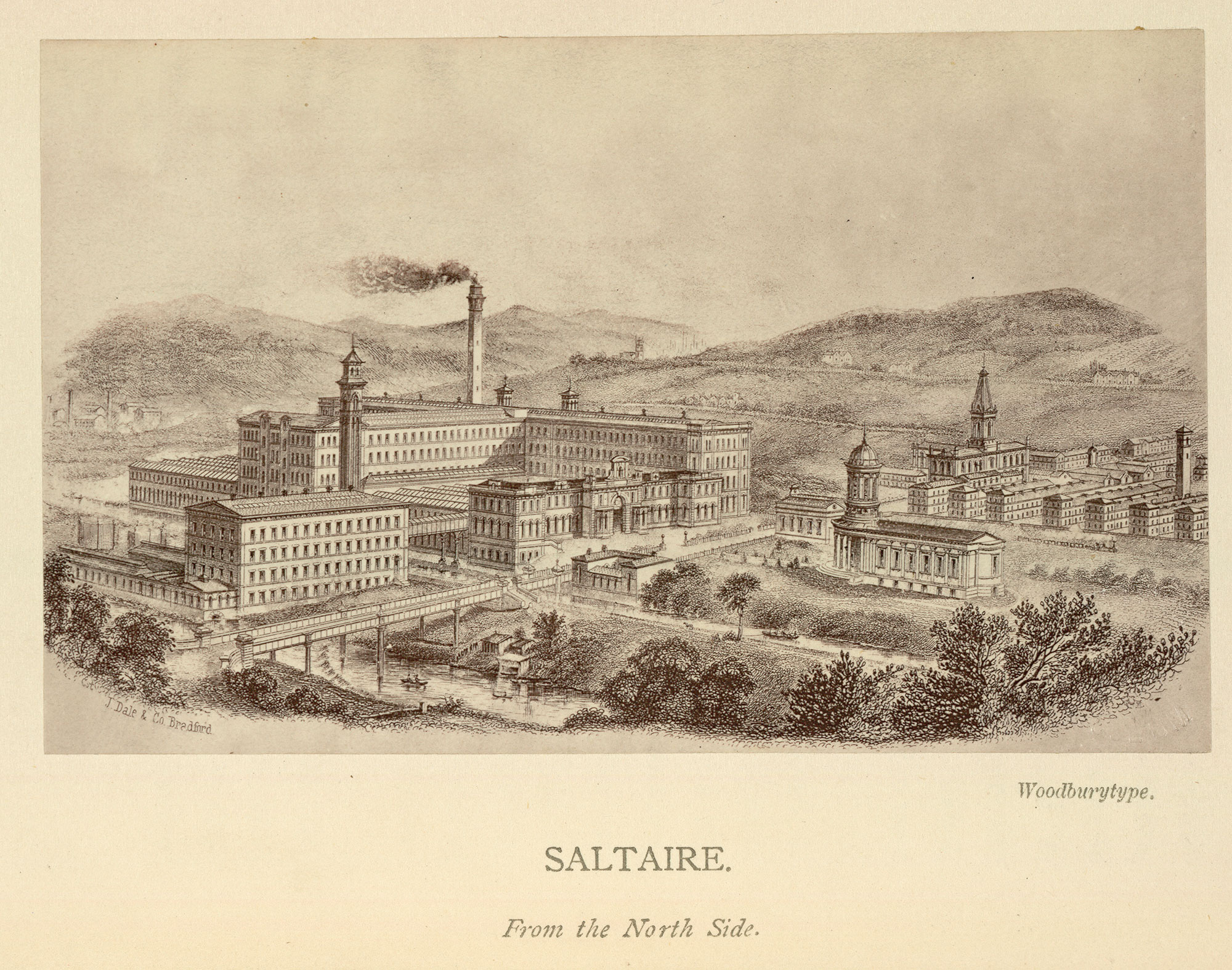 Illustration of Saltaire, a model village founded for textile workers near Bradford