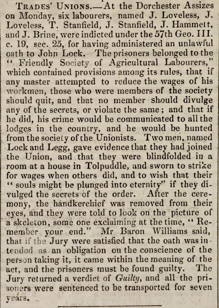 Newspaper report on the sentencing of the Tolpuddle Martyrs. Caledonian Mercury (Edinburgh, Scotland), Saturday, March 29, 1834; Issue 17585