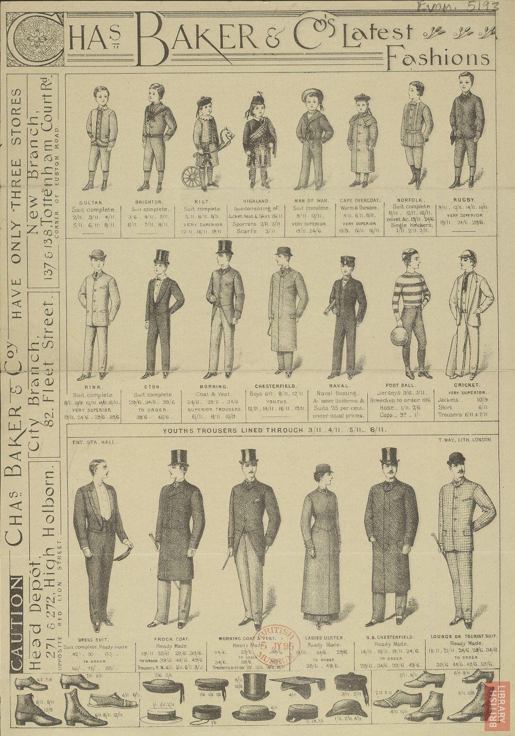 Advertisement for clothing by Chas. Baker & Co