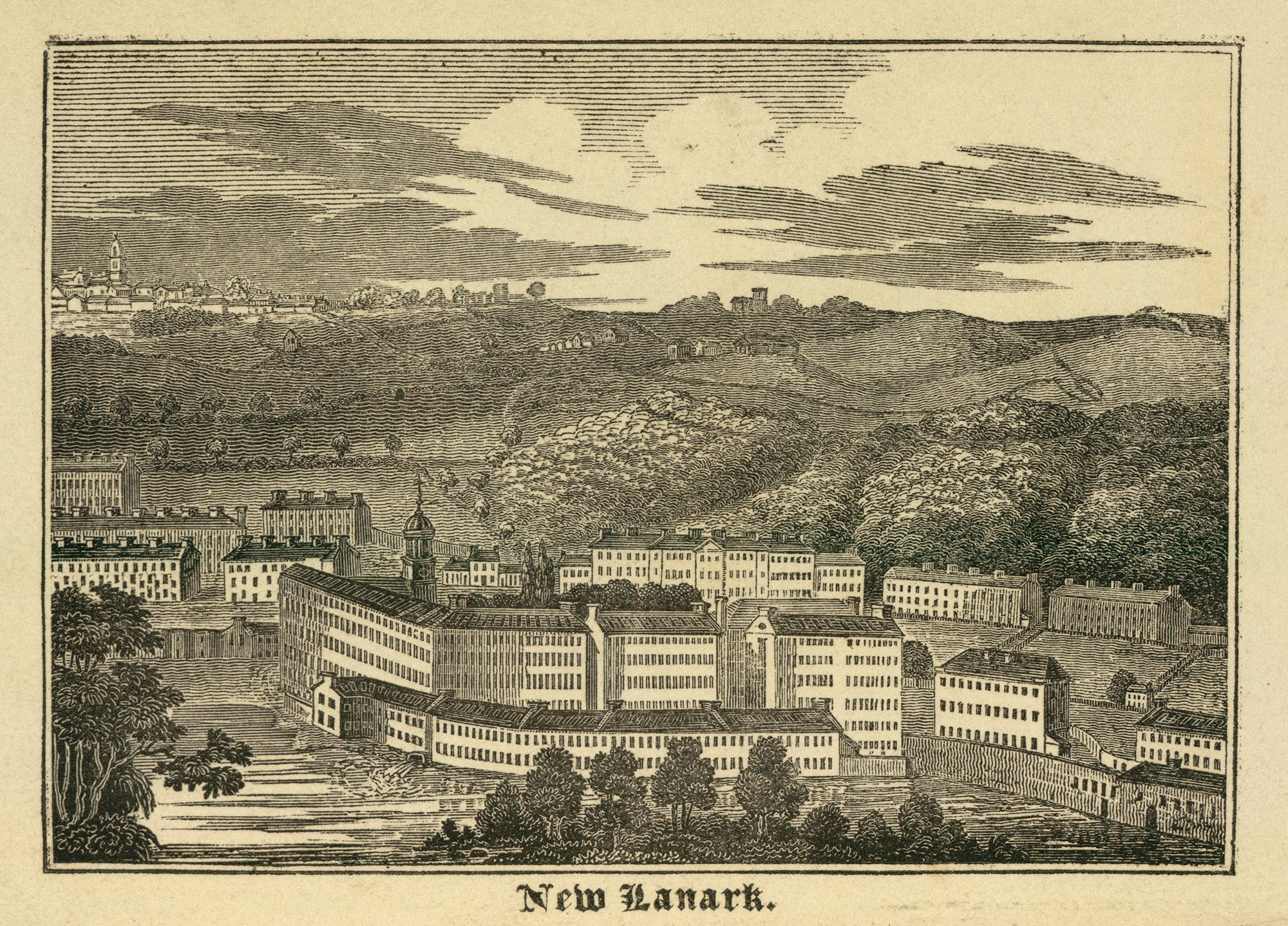 Illustration of New Lanark, a cotton mill village