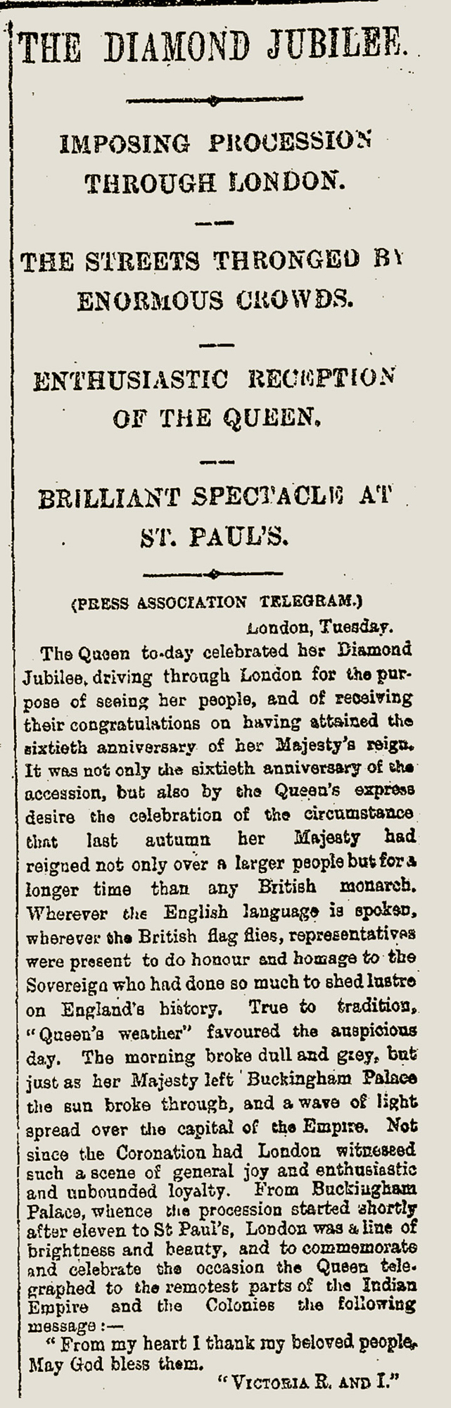 Newspaper report on Queen Victorias Diamond Jubilee 1897