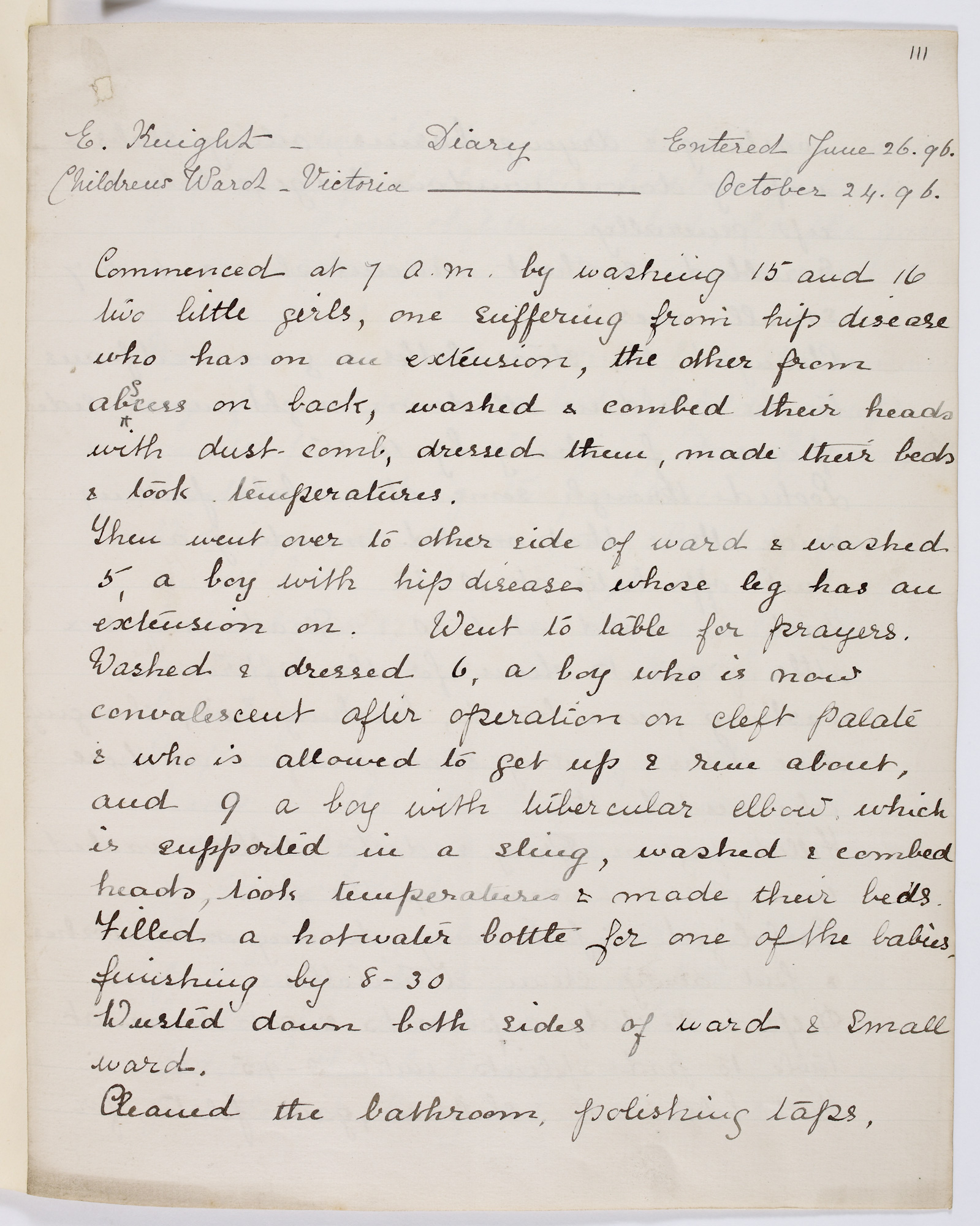 Diary of E Knight, one of Florence Nightingale's trainee nurses, 1896