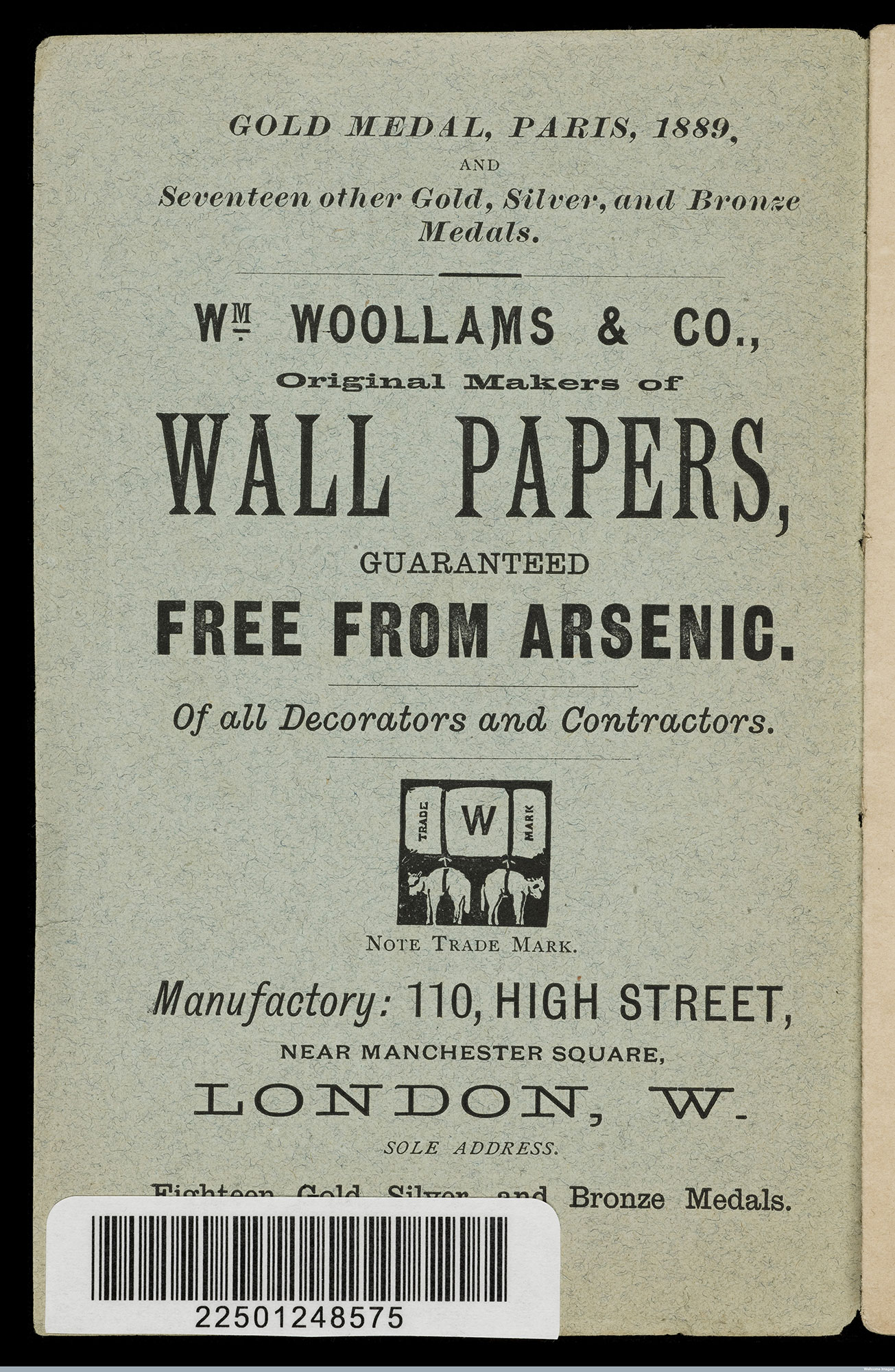 Advertisement for wallpapers free from arsenic