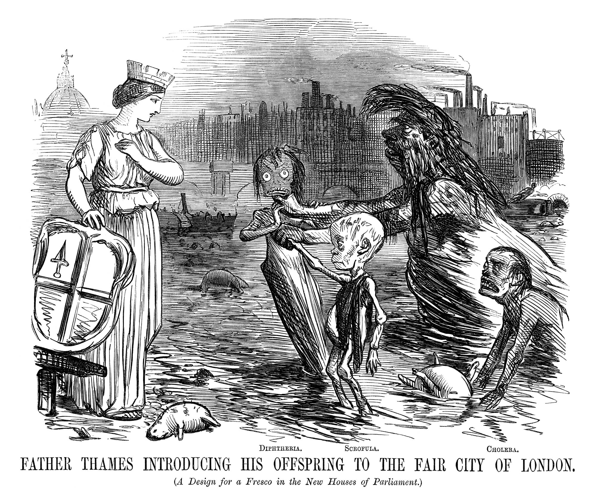 'Father Thames Introducing his Offspring to the Fair City of London' from Punch