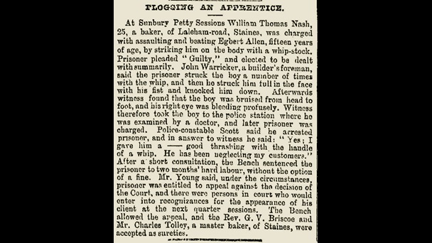 Newspaper report about a baker being charged for flogging his apprentice 1896