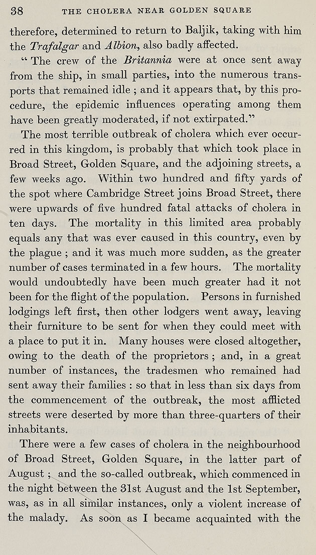John Snow's account of the cholera outbreak in Soho, London, 1854