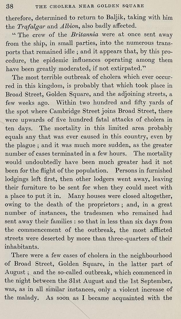 John Snow's account of the cholera outbreak in Soho, London, 1854