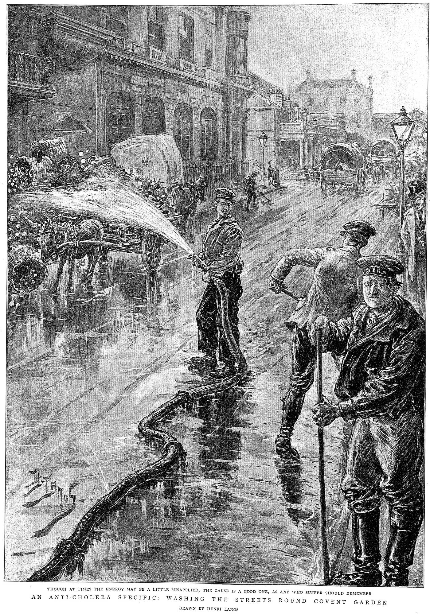 Newspaper illustration showing people washing the streets round Covent Garden as a precaution against cholera