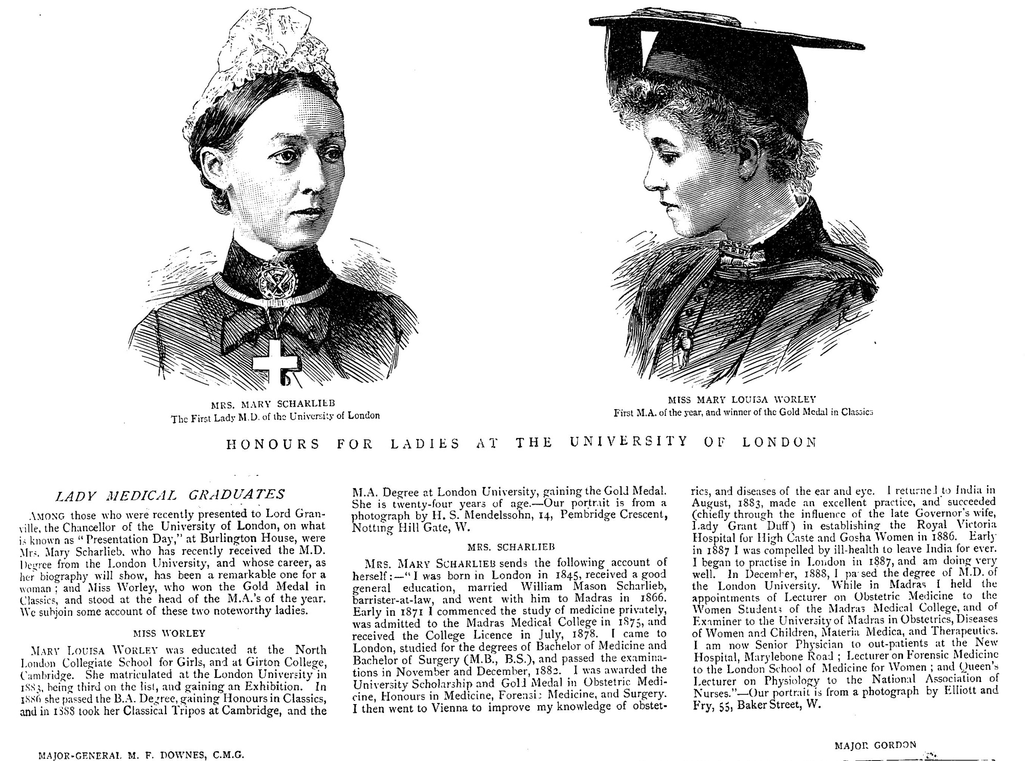 Newspaper article about female medical graduates at the University of London