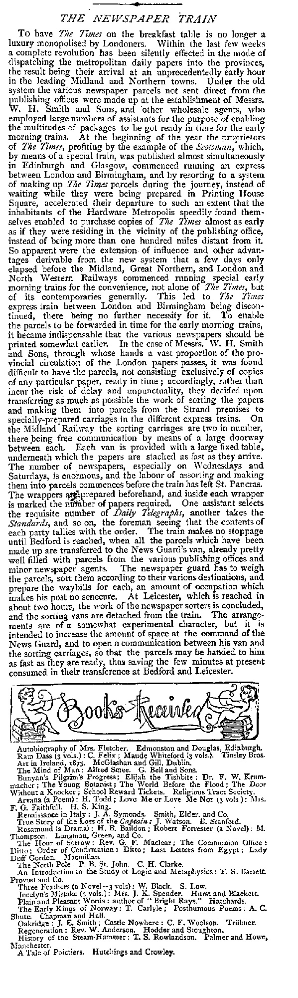 Newspaper article describing the delivery of newspapers around the country by train