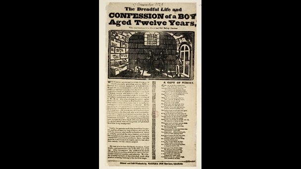 Broadside article, verses and main wood-cut print illustration depicting a prisoner in a cell with arms raised as if begging for mercy.