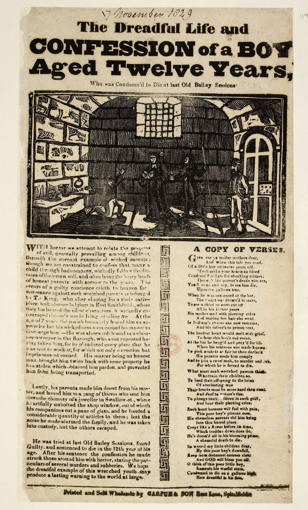 Broadside: The Dreadful Life and Confession of a Boy Aged Twelve Years