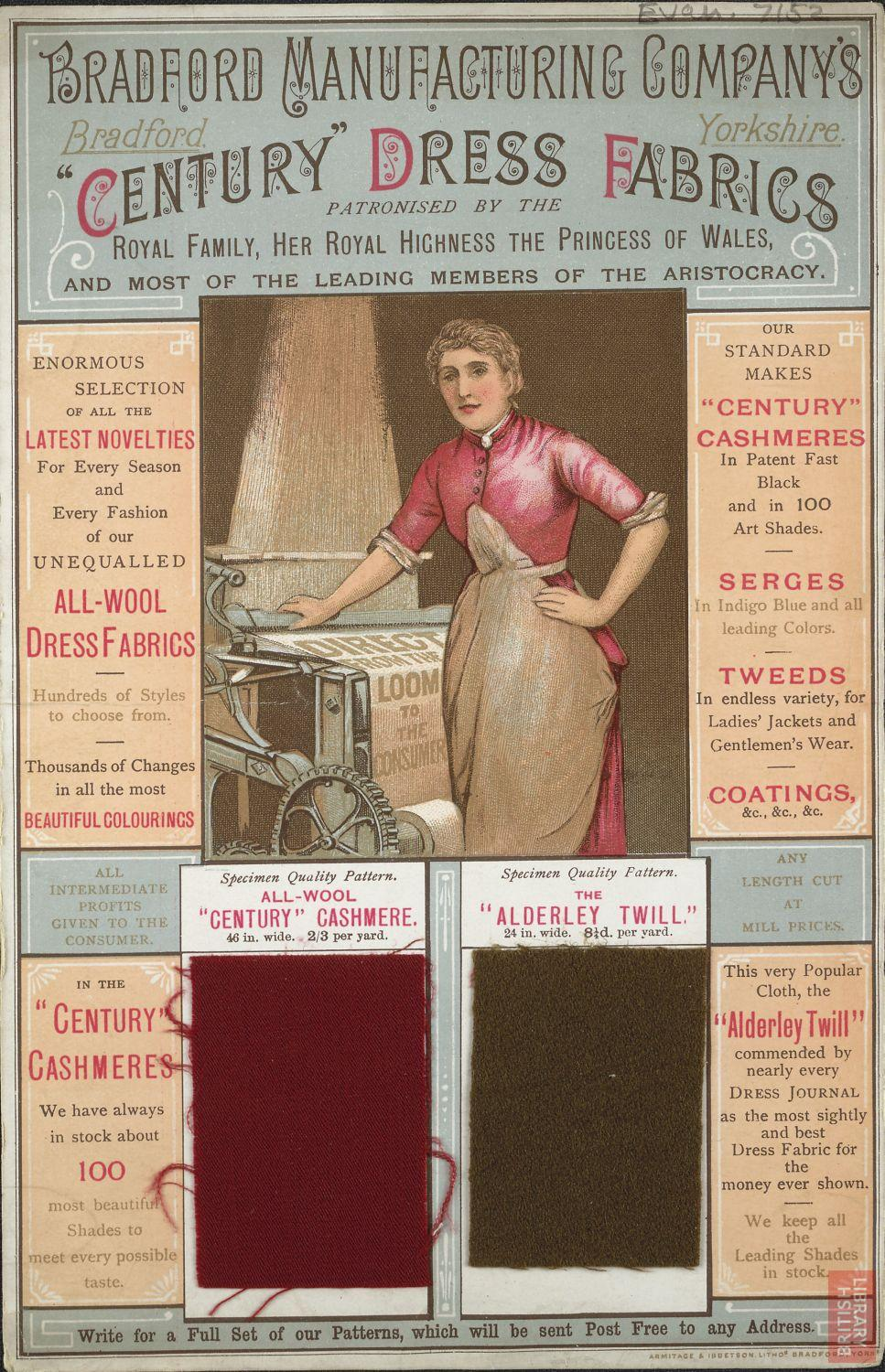 Advertisement for dress fabrics made by Bradford Manufacturing Company
