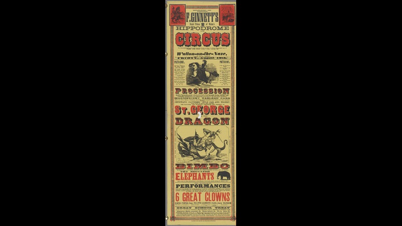 Poster advertising F Ginnett's Hippodrome and Circus