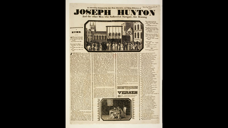 Broadside article, verses and main wood-cut print illustration depicting a public execution of four people by hanging.