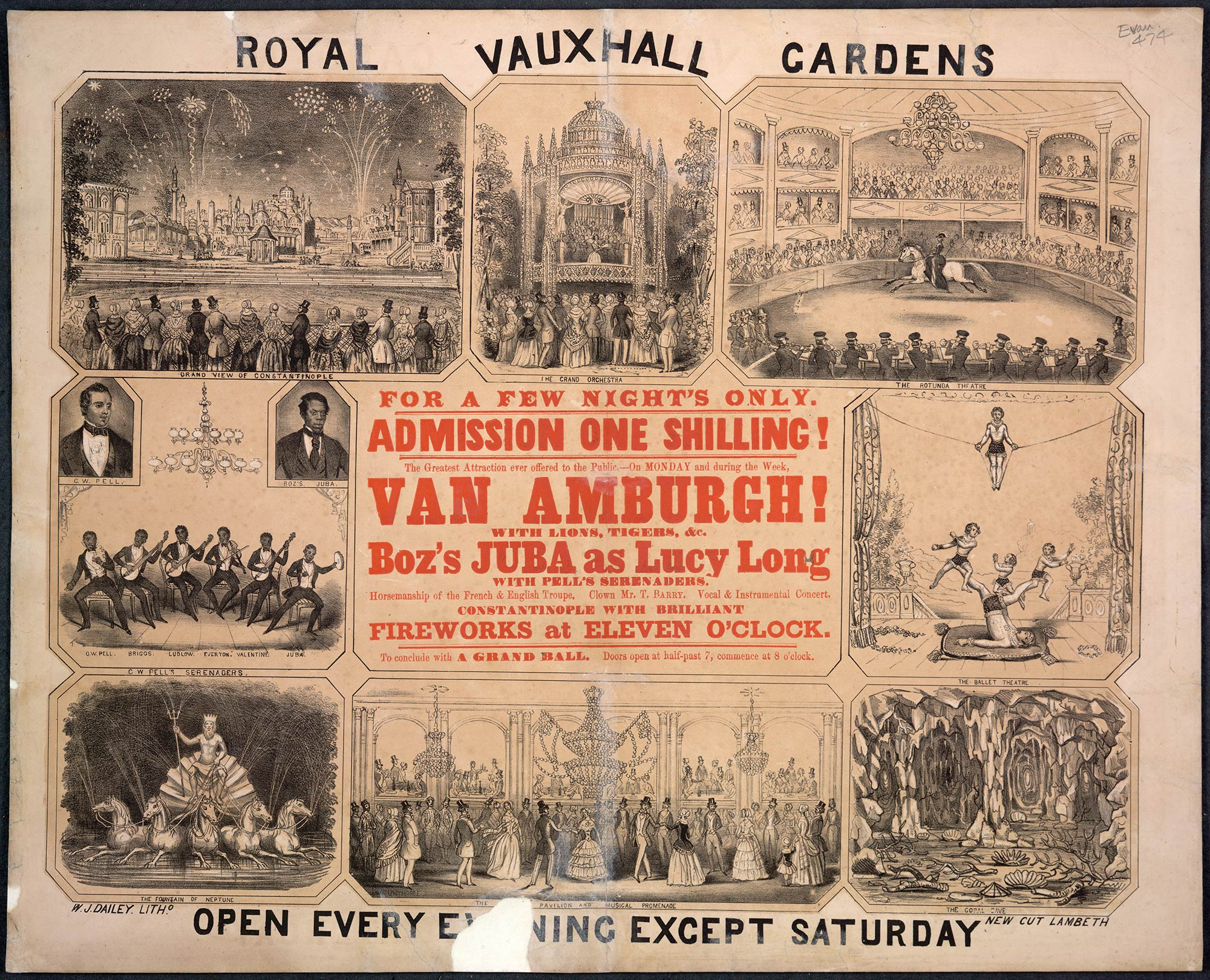 Poster advertising entertainment at the Royal Vauxhall Gardens London
